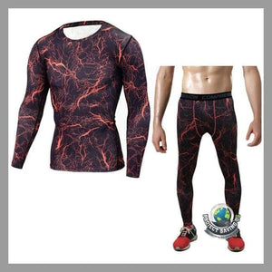 Mens Bodybuilding T-shirt Pants Sports Suit (FD) - Red / L - Sports Suit