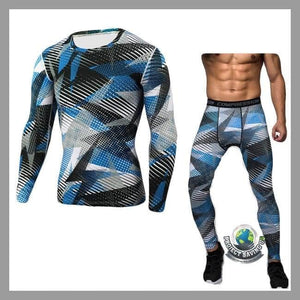 Mens Bodybuilding T-Shirt Pants Sports Suit (PD) - Blue / L - Sports Suit