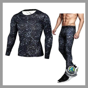 Mens Fitness T-shirt Pants Sports Suit (CH) - Black / L - Sports Suit