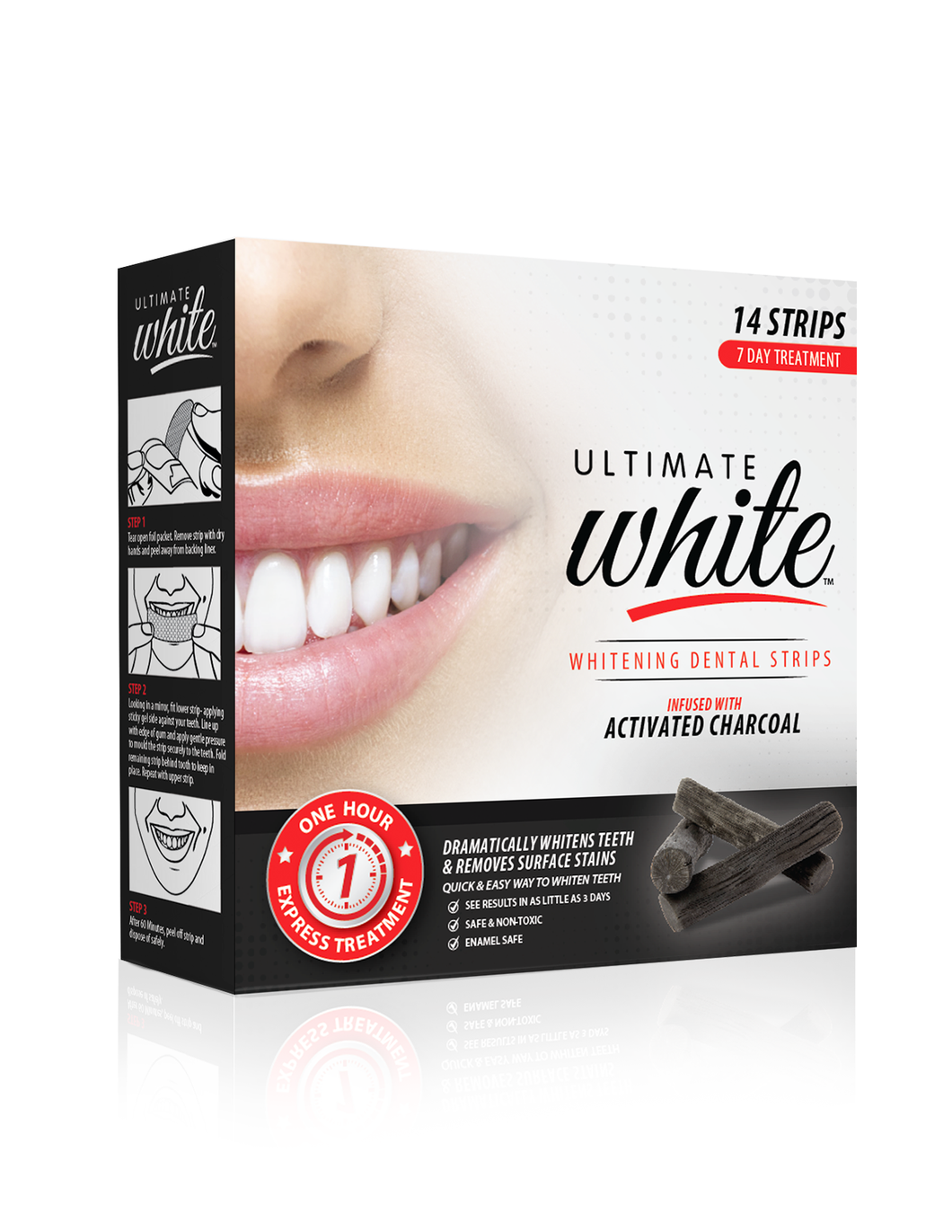 Ultimate White Whitening Dental Strips Infused With Activated Charcoal 7 Day Treatment