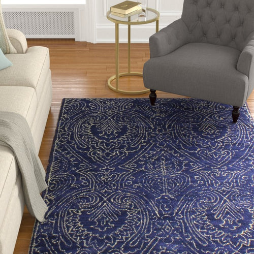 Alcott Hill Goodridge Hand-Tufted Wool Navy Area Rug