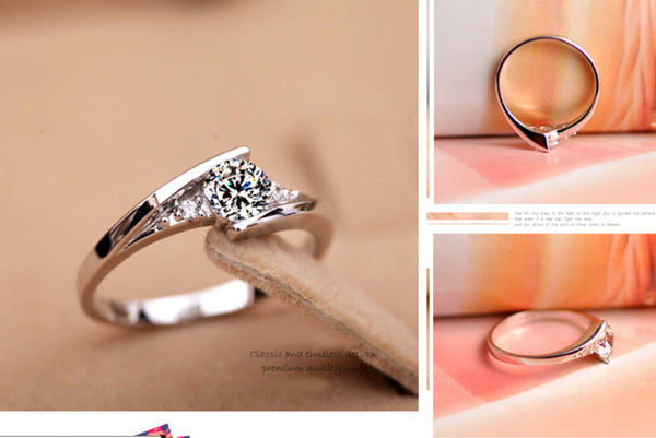 Beautiful Women Engagement Silver Ring with Zircon