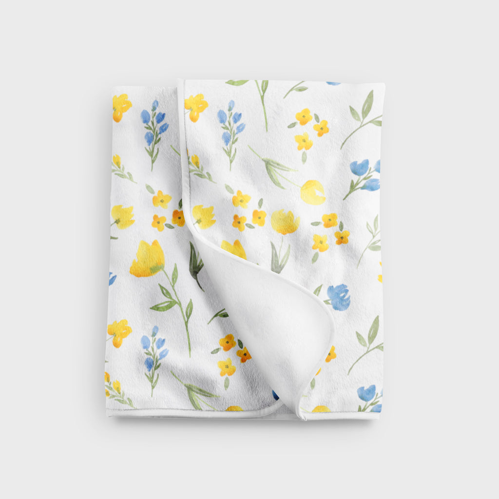Yellow Wildflower Fleece Baby Blanket - Hillary Proctor Studio