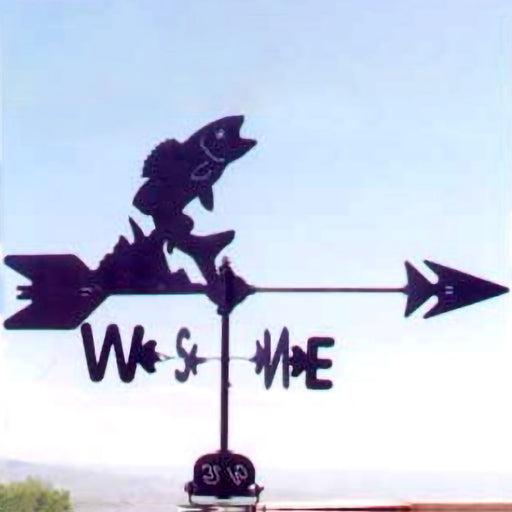 Bass Silhouette Steel Weathervane