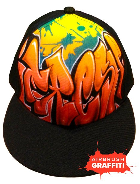 Custom Graffiti Hat - Red Orange - Green Splats