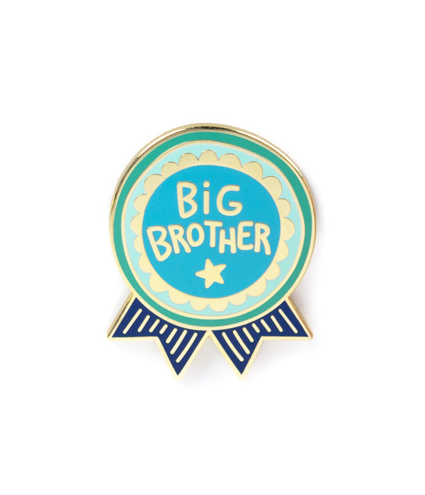 the front side of an enamel pin; shaped like a medal with the saying Big Brother on it