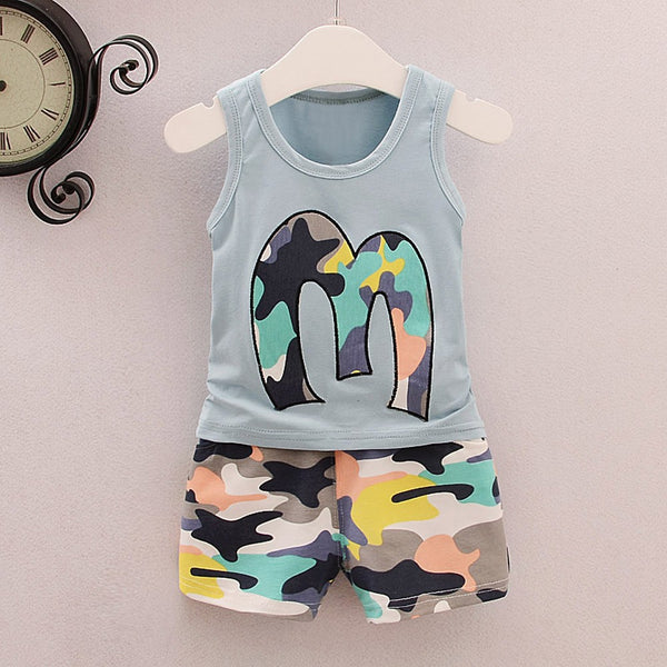 Camouflage Tops Shorts Outfits Set