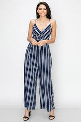 COLOR BLOCK STRIPE JUMPSUIT-Navy