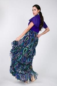RUFFLE LAYERED DETAIL PRINT LONG SKIRT