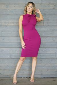 SLVLS Mock Neck w/ Bow Bodycon Midi Dress-Magenta