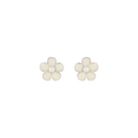 Flower Daisy White Stud Earring