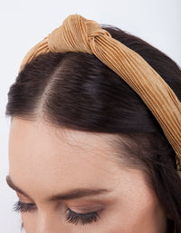 Golden Yellow Pleated Turban Headband