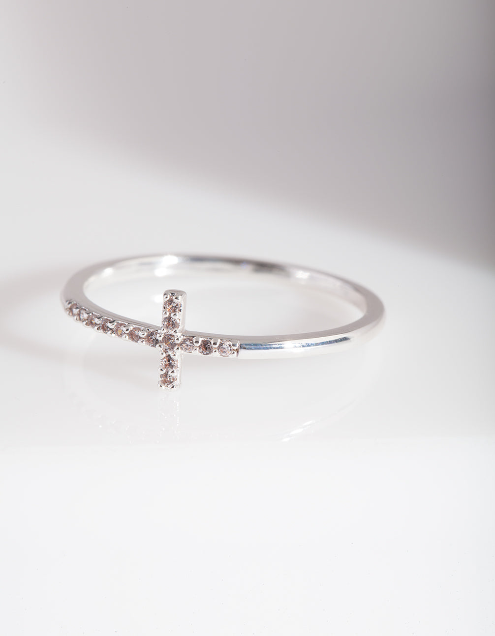 Cubic Zirconia Silver Cross Ring