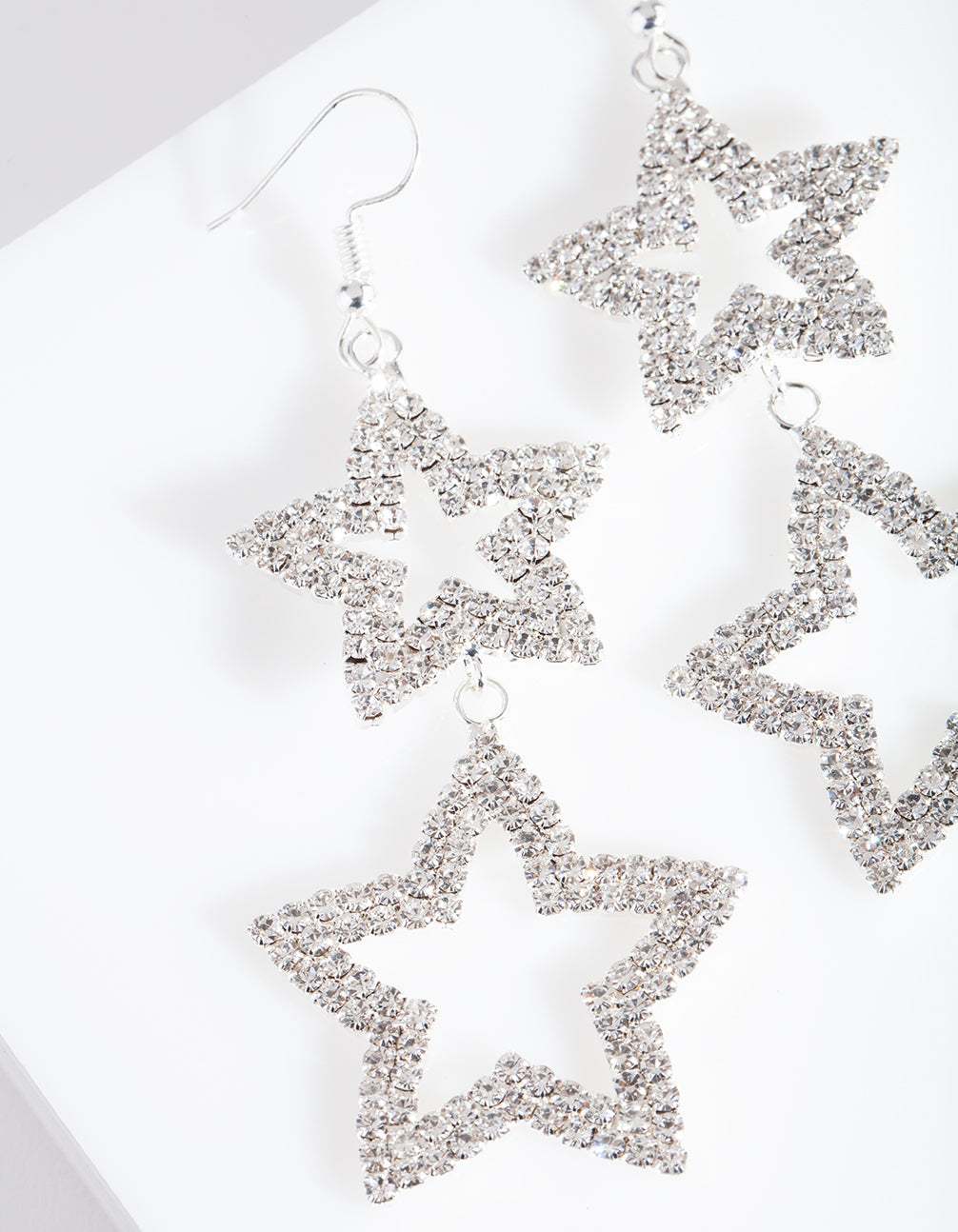 Diamante Double Star Drop Earring