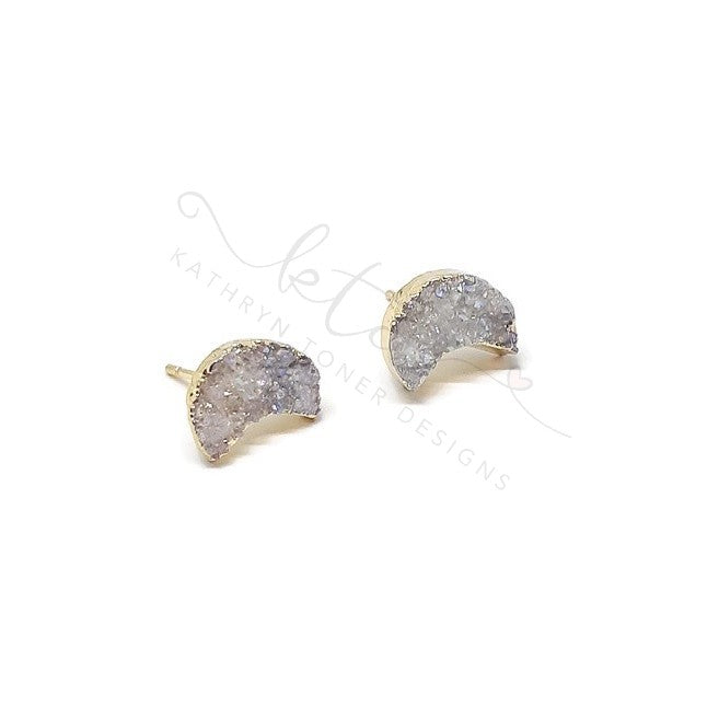 Druzy Gold Dipped Crescent Moon Studs