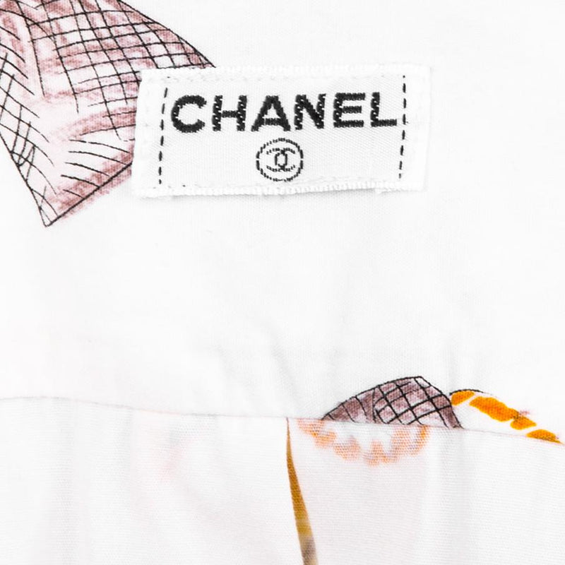 Chanel Spring 1996 Runway Lipstick Print Button-Up Top
