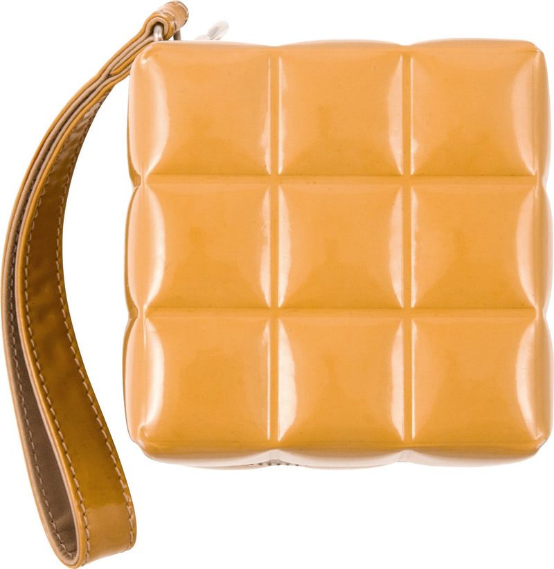 Chanel Spring 2004 Beige Quilted Patent Leather Rubik's Cube Wristlet