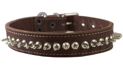 Thick Genuine Real Leather Spiked Dog Collar 1.5