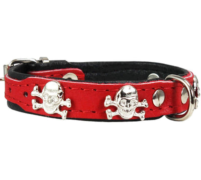 Real Leather Skull Studded Padded Dog Collar Red/Black
