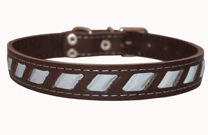 "Genuine Leather Reflective Dog Collar 24""x1"" Brown Fits 17""-21.5"" Neck"