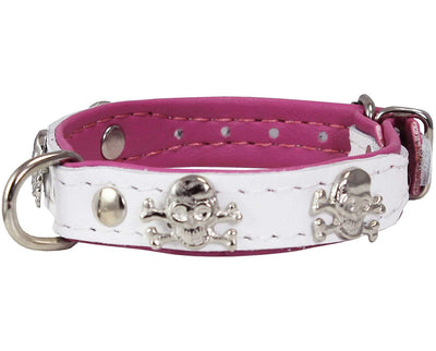 Real Leather Skull Studded Padded Dog Collar White/Pink