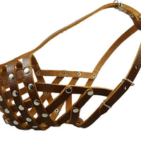 "Secure Leather Mesh Basket Dog Muzzle #15 Brown - Rottweiler (Circumference 13.5"", Snout Length 4"")"