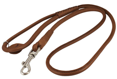 Round Genuine Rolled Leather Dog Leash 4' Long 1/2