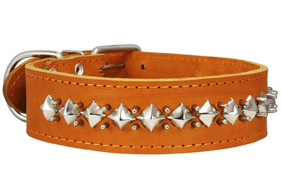 Genuine Leather Spiked Studded Dog Collar Brown Fit 18