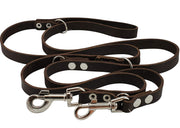 "Dogs My Love Brown 6 Way Euro Leather Dog Leash, Adjustable  49""-94"" Long, 3/4"" Wide (18 mm) Large"