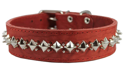 Genuine Leather Spiked Studded Dog Collar Red Sized to Fit 18