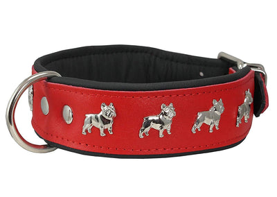 Real Leather Soft Leather Padded Dog Collar Bulldog Red/Black