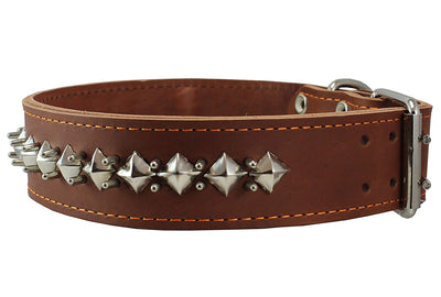 Thick Genuine Leather Spiked Studded Dog Collar Brown 18