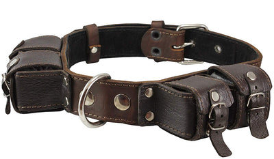 4lbs Genuine Leather Weighted Dog Collar 1.5