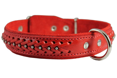 Genuine Leather Braided Studded Dog Collar, Red 1.25