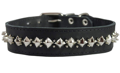 Thick Genuine Leather Spiked Studded Dog Collar Black 18