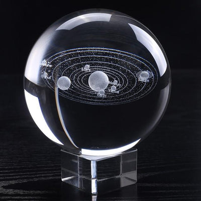 "100mm/3.9"" Solaris™ Globe Laser Engraved Glass Item Wat Crate 10cm With crystal base"