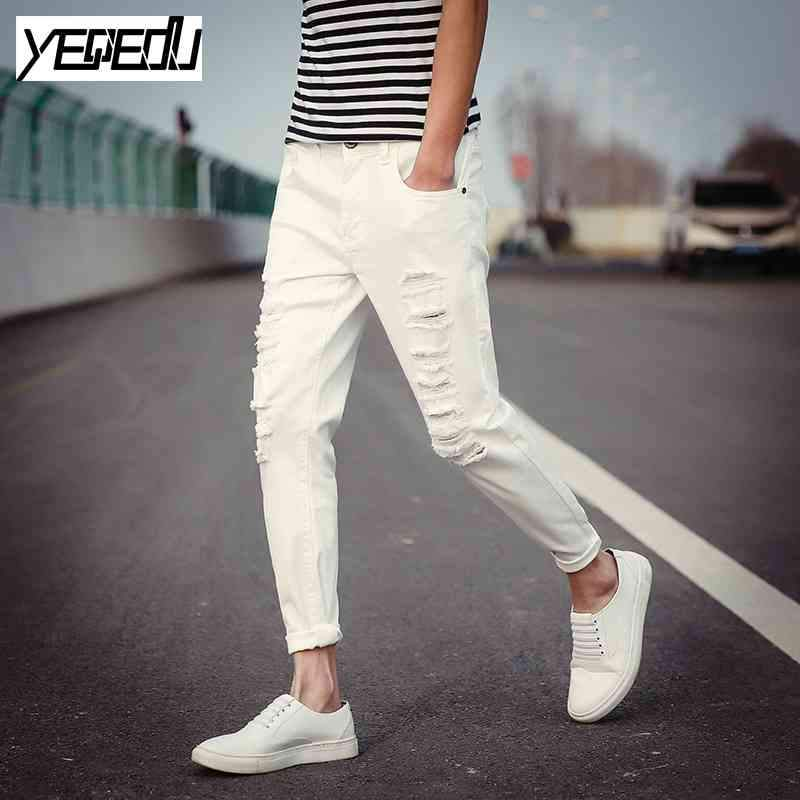 #1410 Black ripped jeans men Summer 2017 Elastic cotton Slim Korean Mens skinny jeans Cheap white jeans men Pantalon homme