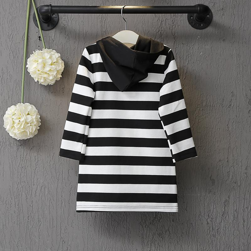 Children Clothing Spring Brand Black White Striped Long Sleeve Hooded Virgins Dress For Girls Kids Clothing Cute Outfit