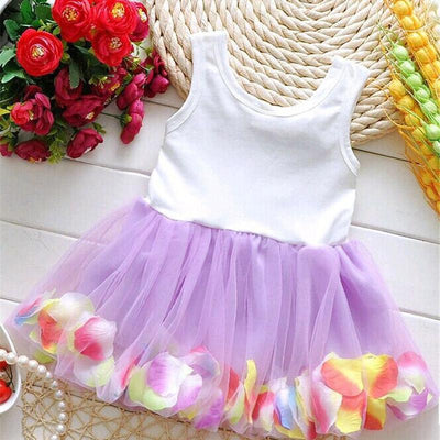 Monkids Summer Colorful Mini Tutu Dress Petal Hem Dress Floral Clothes Princess Baby Dress Summer For Baby Dresses Girl