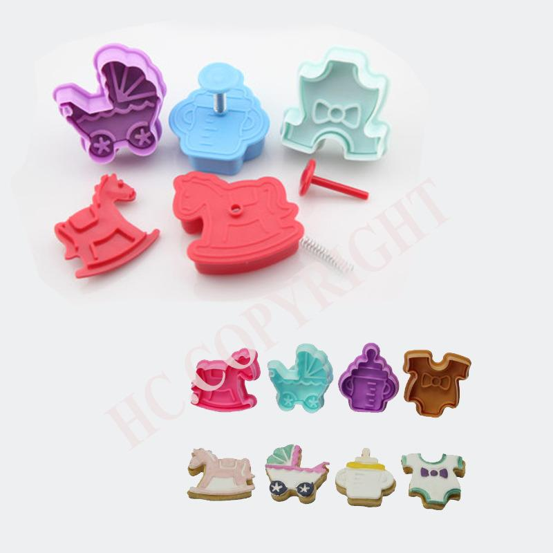 4pcs/set Baby Buggy Clothes Rocking Horse Milk Bottle Shape Fondant Cake Decorating Cookie Biscuit Plunger Cutter Mould Tools