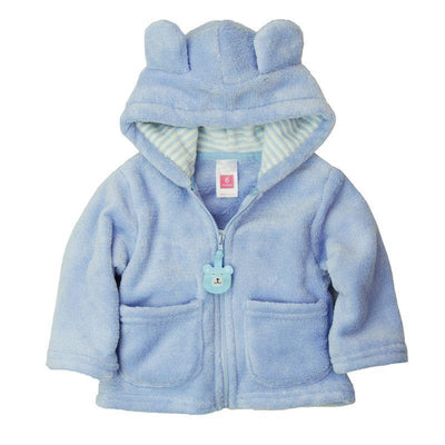 - 2014 spring autumn Coral velvet baby jacket/coat long-sleeved hooded infant boy girl carter thick tops - Sky Blue / 0-3 months  jetcube