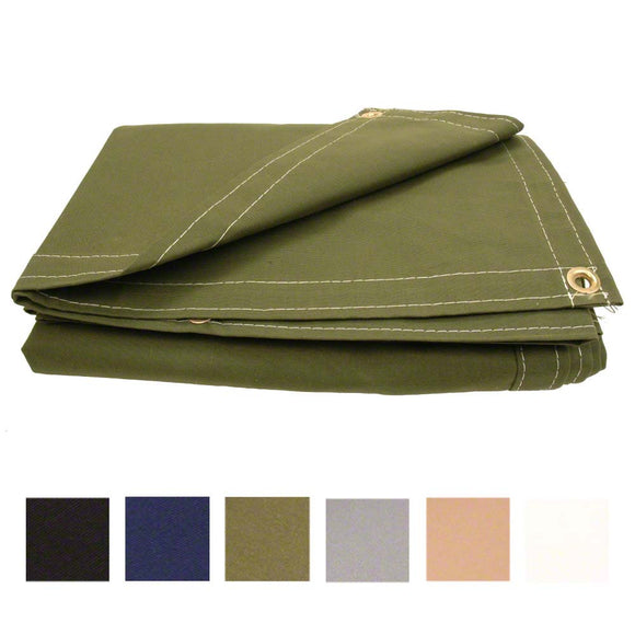 8' x 12' Canvas Boat Cover Tarp - Polyester Canvas - Made in USA