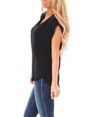 Solid Zip V Neck Short Sleeve T-shirt