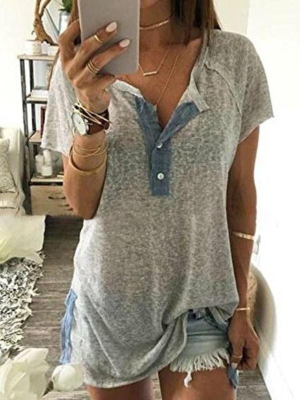 Solid Short Sleeve Sexy T-Shirt