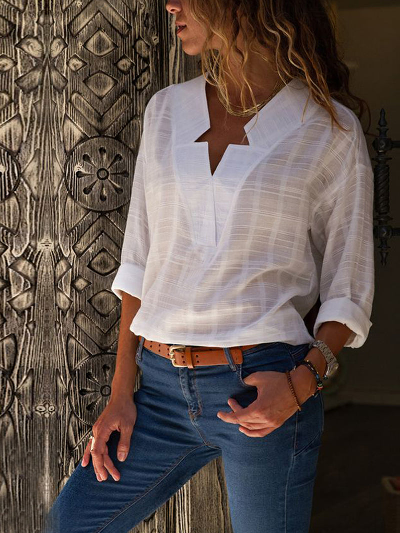 V-neck Irregular Plaid Long-sleeved Blouse