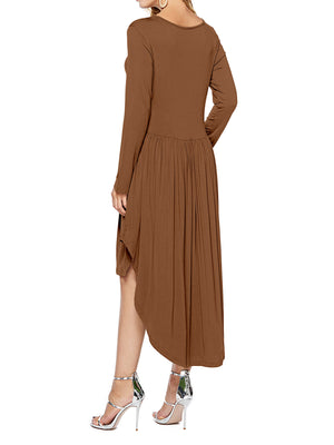 Scoop Neck Pockets Pleated Loose Swing Casual Midi Dress