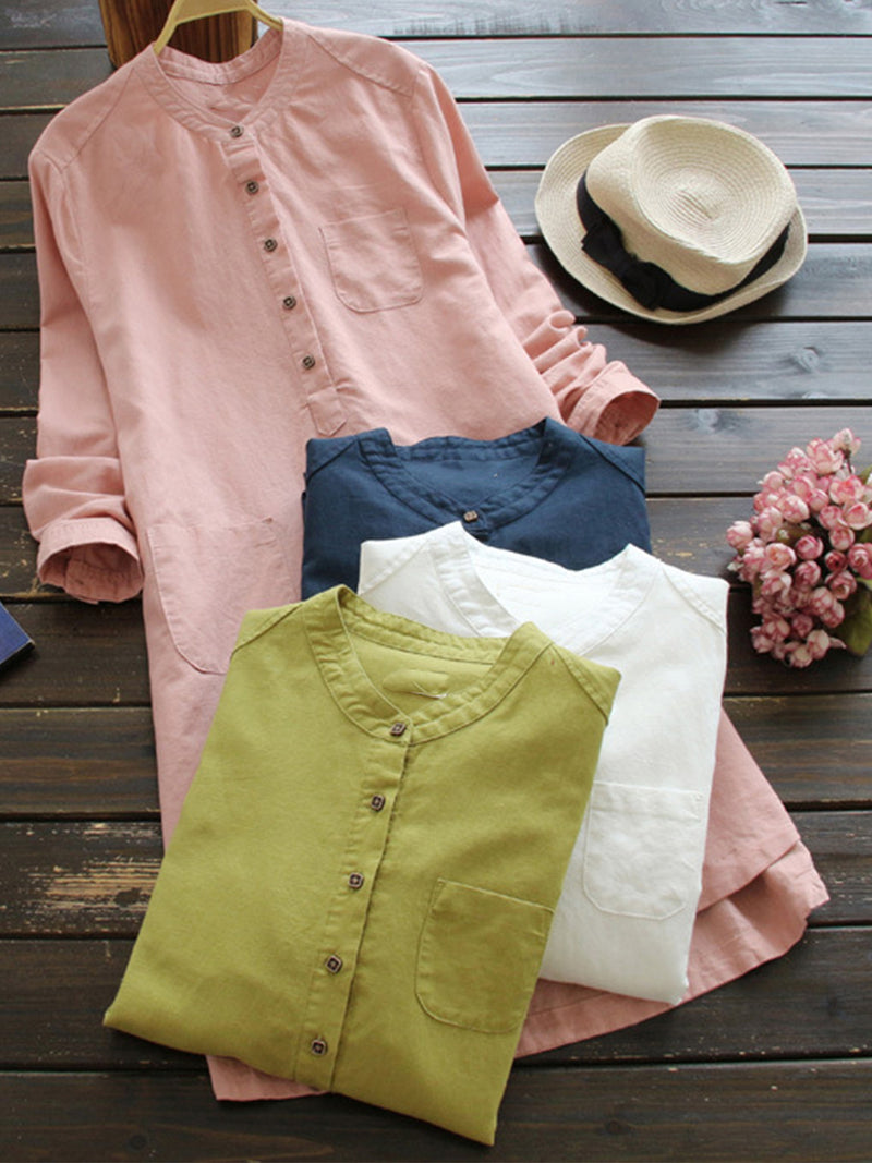 Casual Vintage Linen/Cotton Long Sleeve Half Open Placket Midi Length Shirt