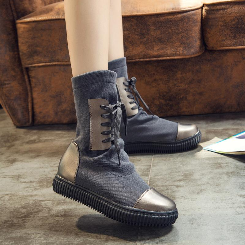 Stretchy Fashionable Mid-Calf Martin Boots