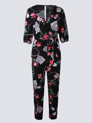 Fashion Frenulum Slim Show Thin Floral Print Jumpsuit