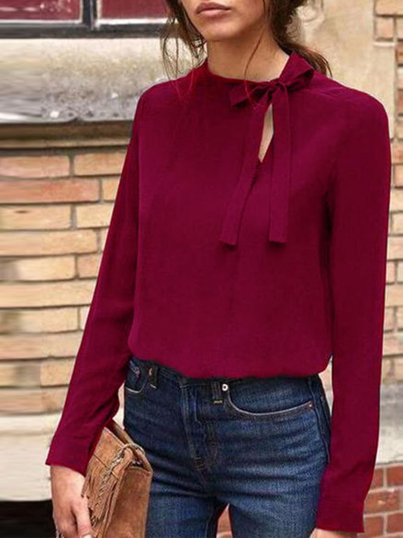 Bow-tied Neck Chiffon Women Blouse